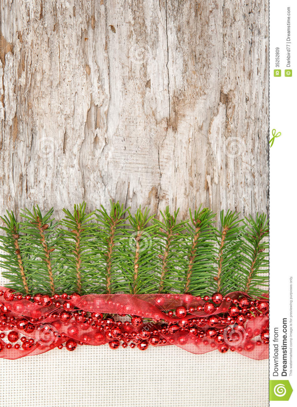 Christmas decoration with red garland canvas and fir