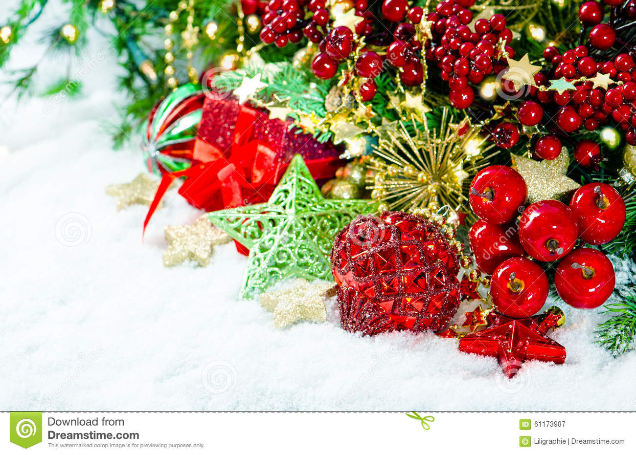 Christmas decoration red gold green over white background for Red white green christmas decor