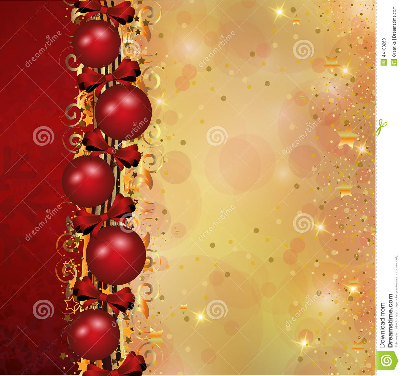 Christmas decoration in red and gold stripes stock