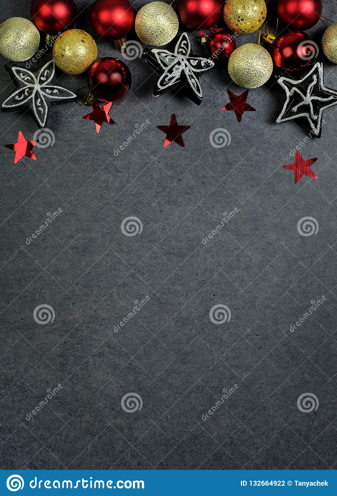501e4bcf4225 Christmas decoration, red balls and black silver stars on the white  background. Flat lay. Copy space. Top view. More similar stock images