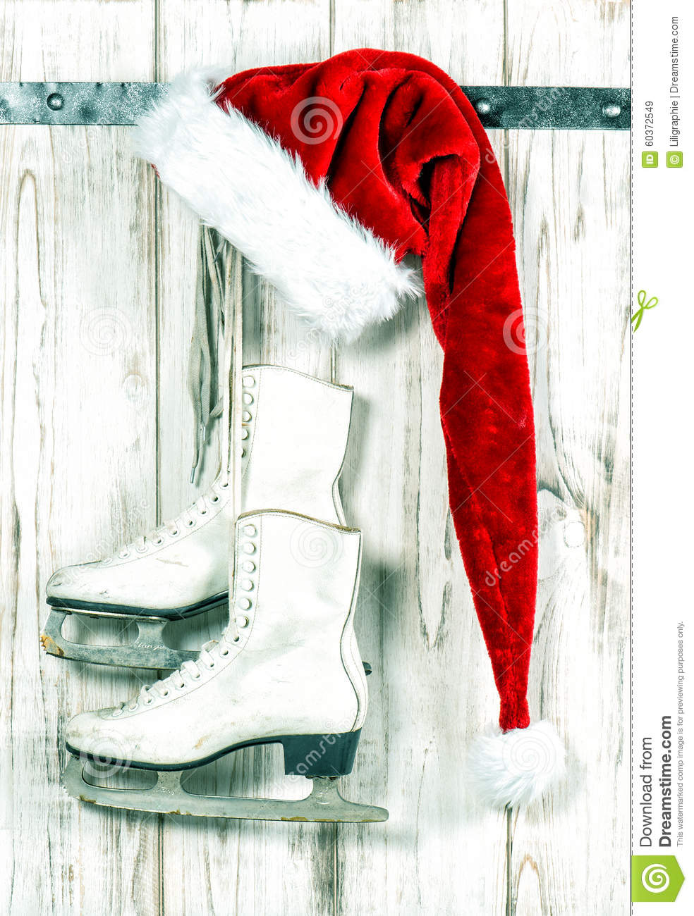 Christmas Decoration. Red Santas Hat And Vintage Ice Skates Stock ...