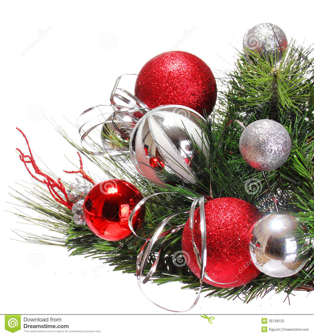 download christmas decoration red and silver balls on christmas tree stock image image of