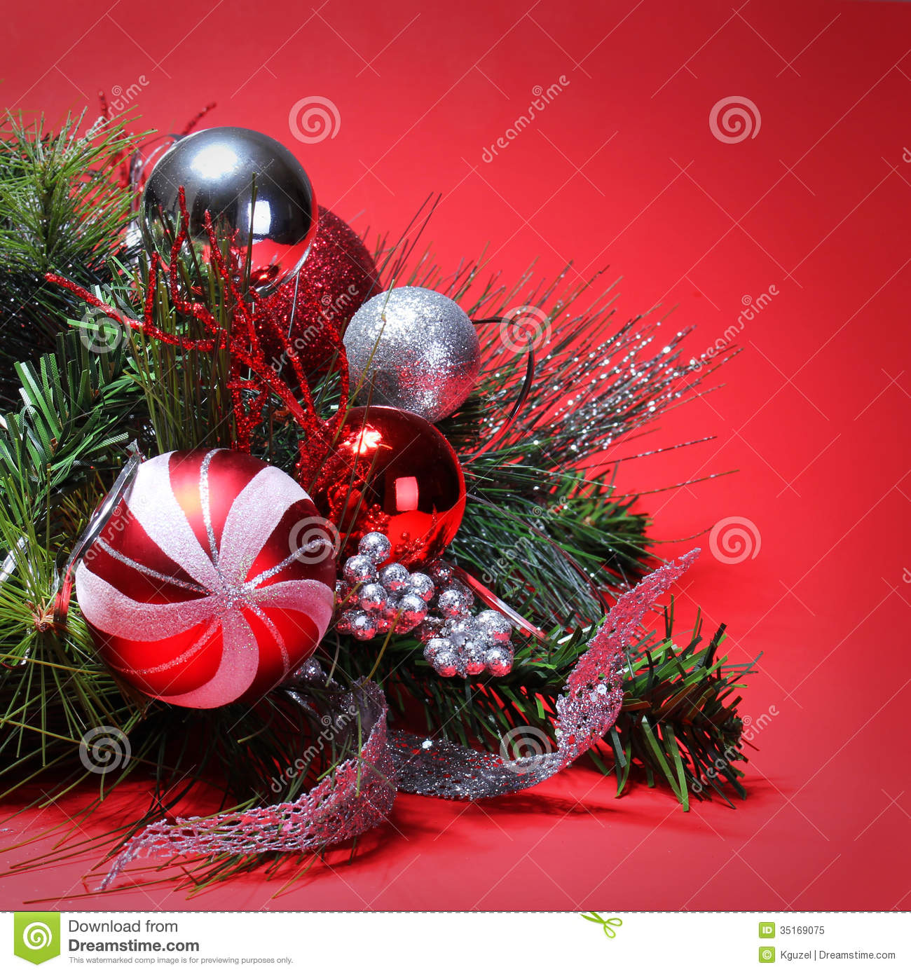 Christmas decoration red and silver balls on christmas for Christmas tree with red and silver ornaments