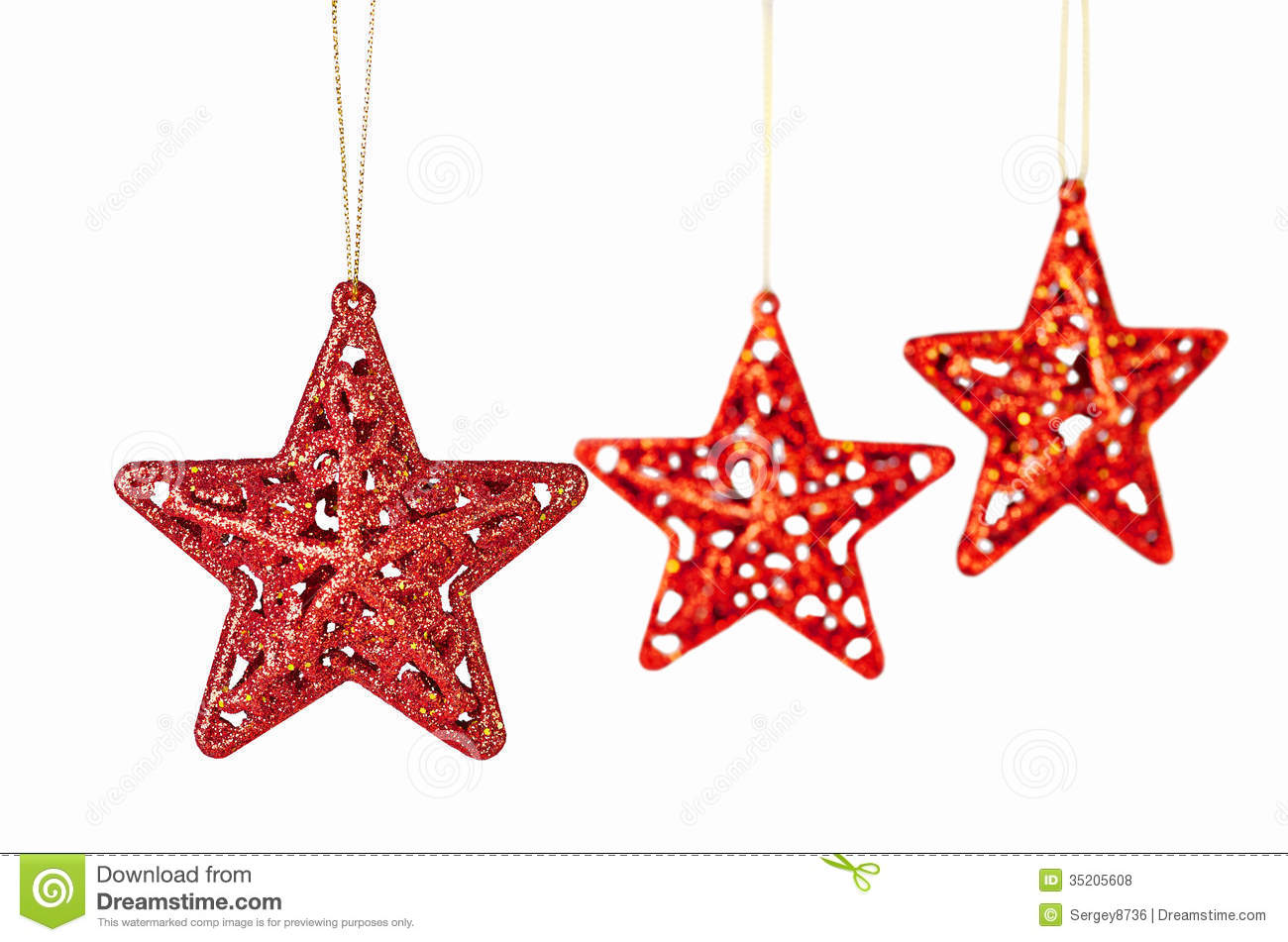 Christmas Decoration. Red Stars On White Stock Photo