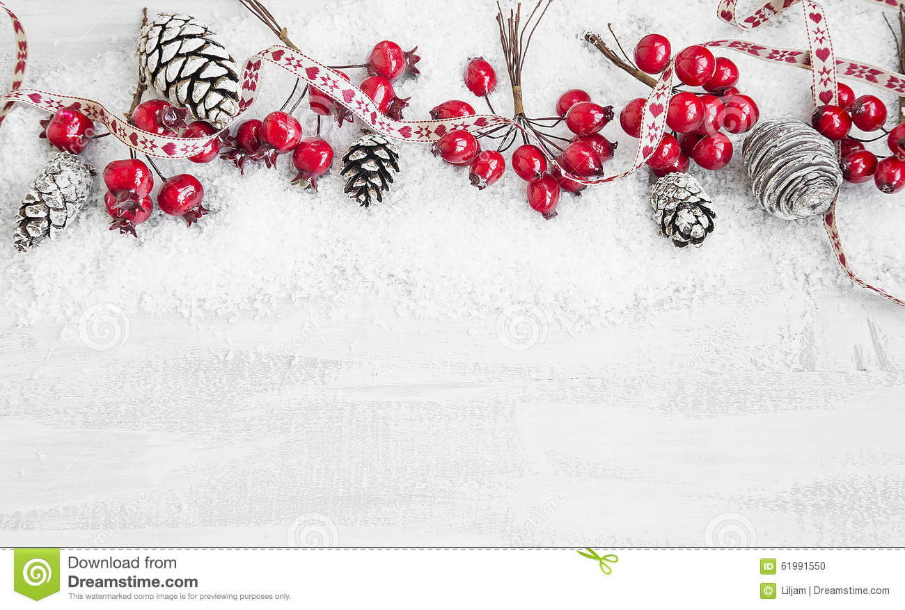 Christmas Decoration Ribbon Frame With Red Berries And Pine Cone