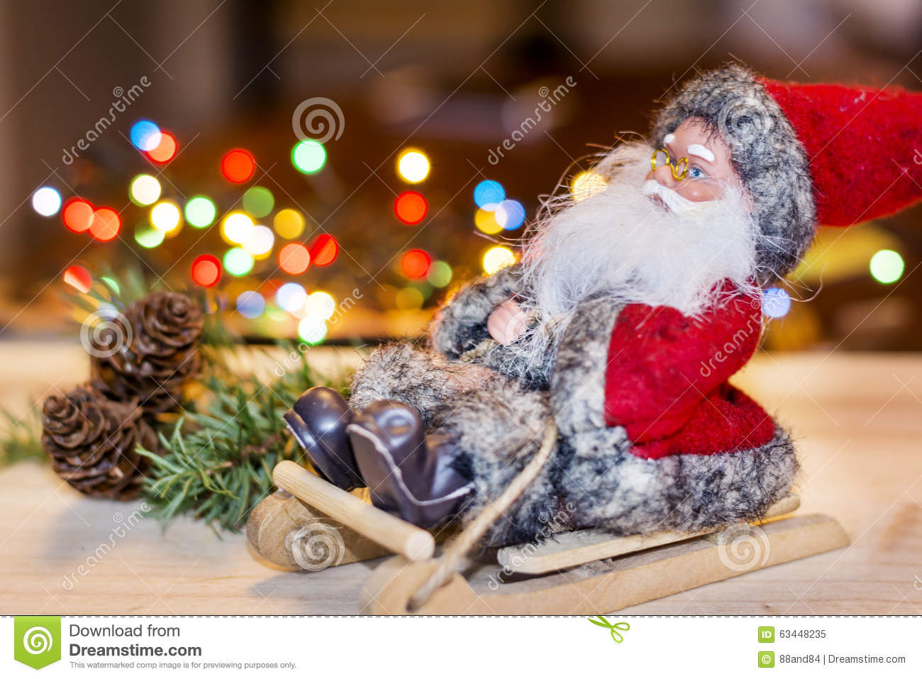 christmas decoration with santa claus on a wooden sled - Wooden Sled Decoration Christmas