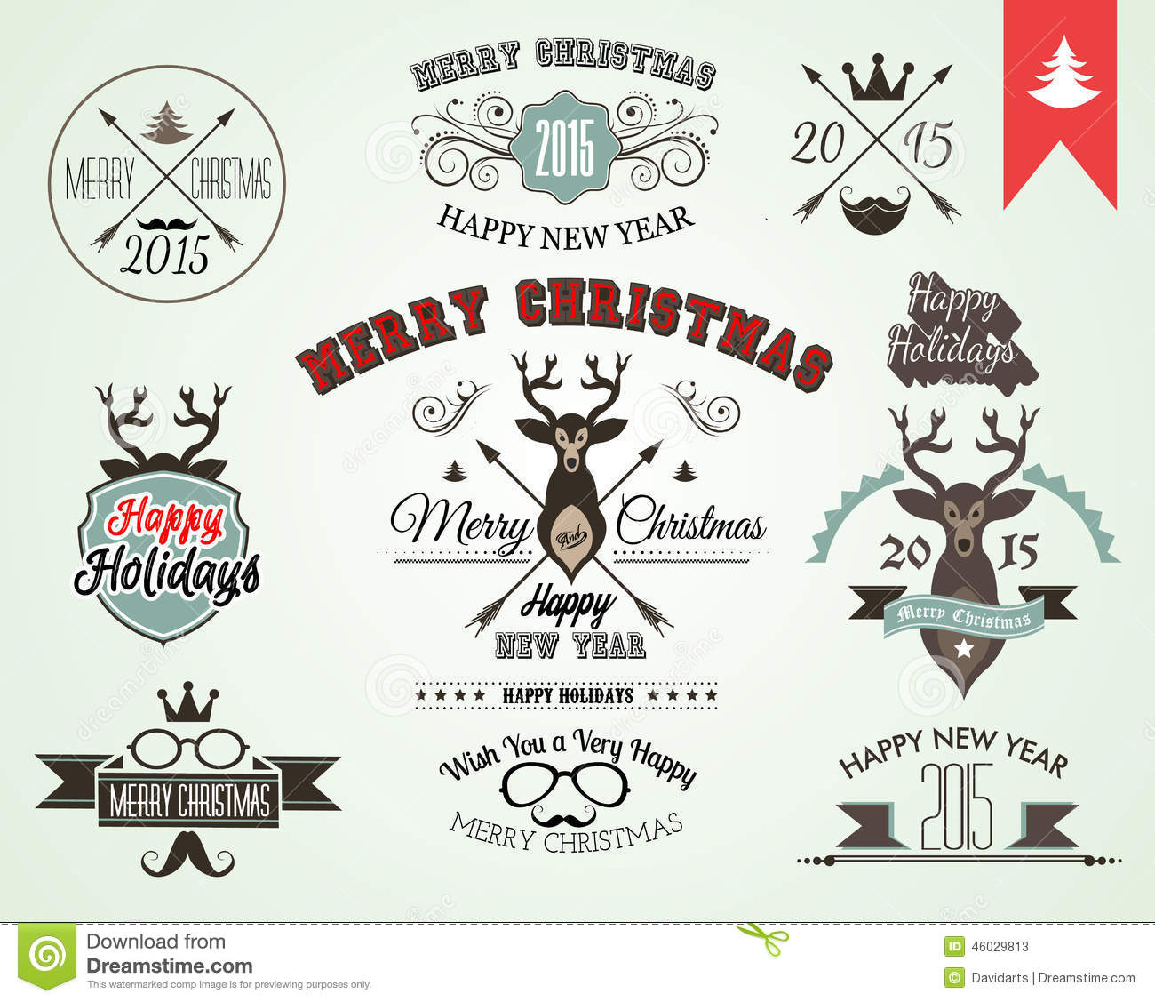 Christmas Tree Decoration Elements: 2015 Christmas Decoration Set Of Calligraphic And