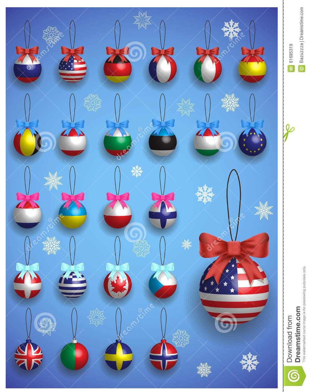 Christmas Decoration Set With Different International Flags ...