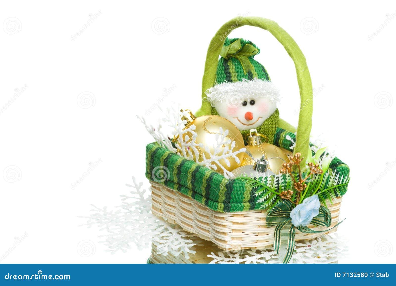 Christmas Decoration Set In Wicker Basket Stock Photo