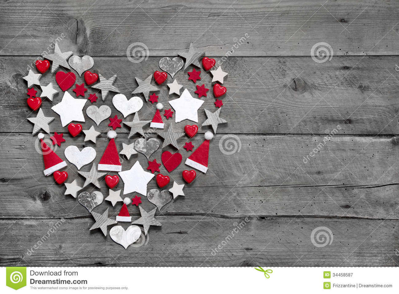 Christmas decoration shaped heart on grey wooden