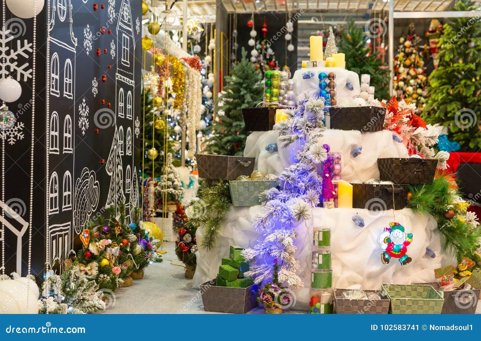 Christmas Decoration Shop Decorated Xmas Trees Stock Image Image