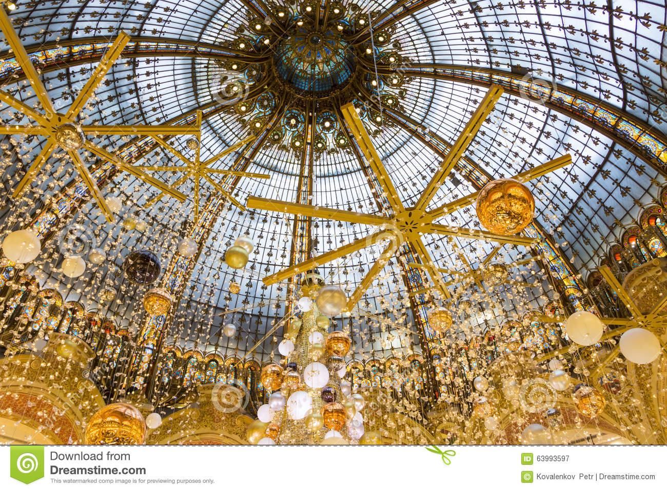The Christmas Decoration At Shopping Center Galeries Lafayette Editorial Photography Image