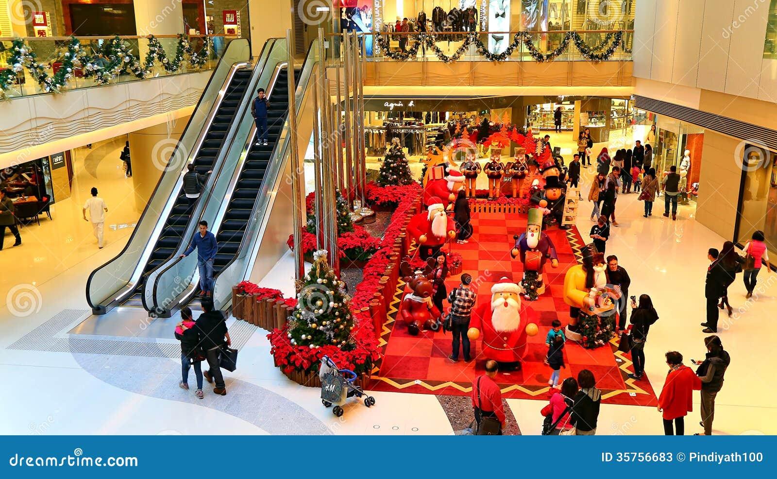 christmas decoration shopping mall active visitors enjoying decorations