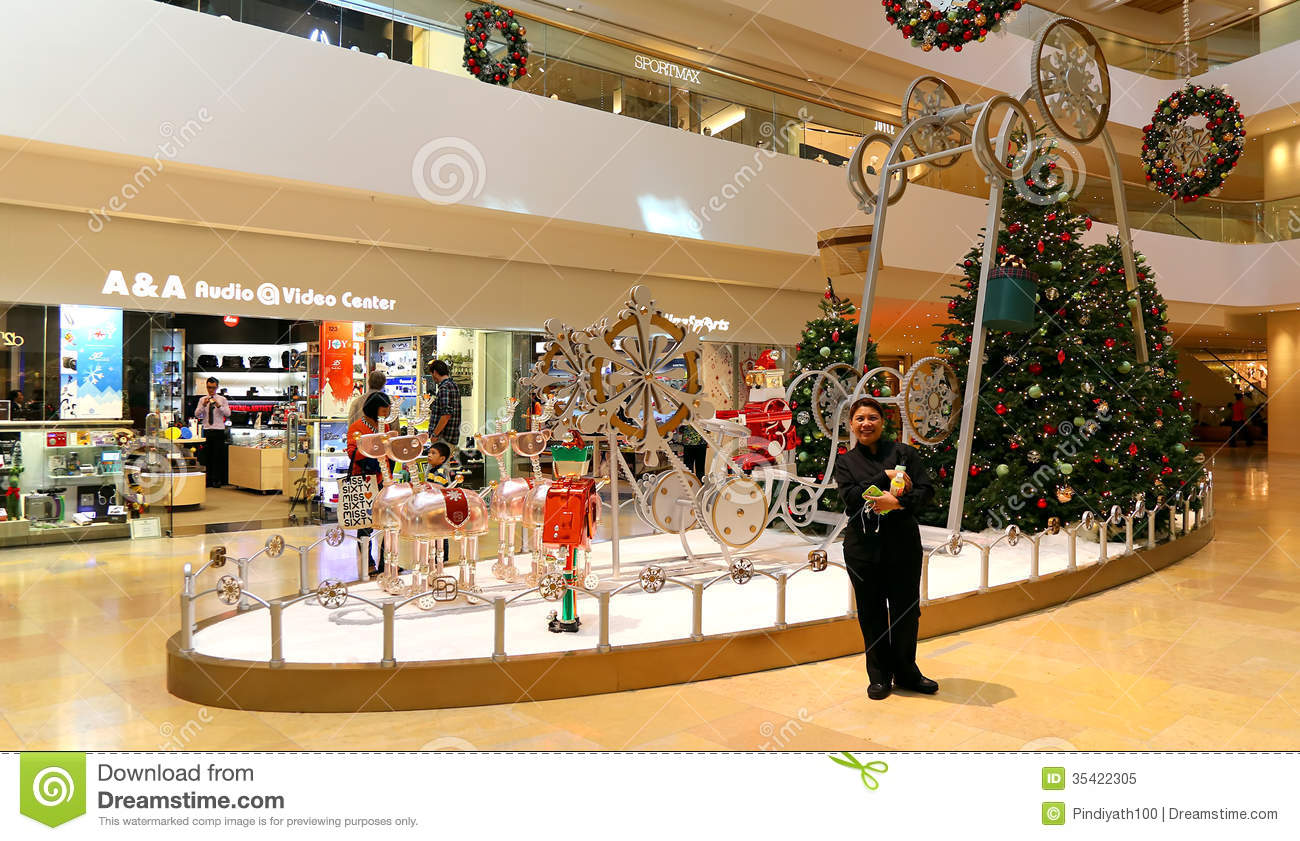 Christmas decoration in shopping mall editorial image for Decoration shopping