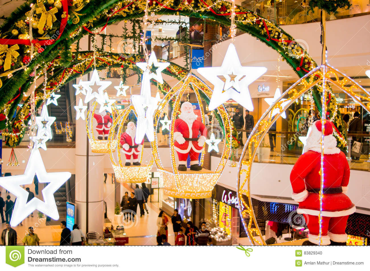 Christmas Decoration In A Shopping Mall In India Editorial