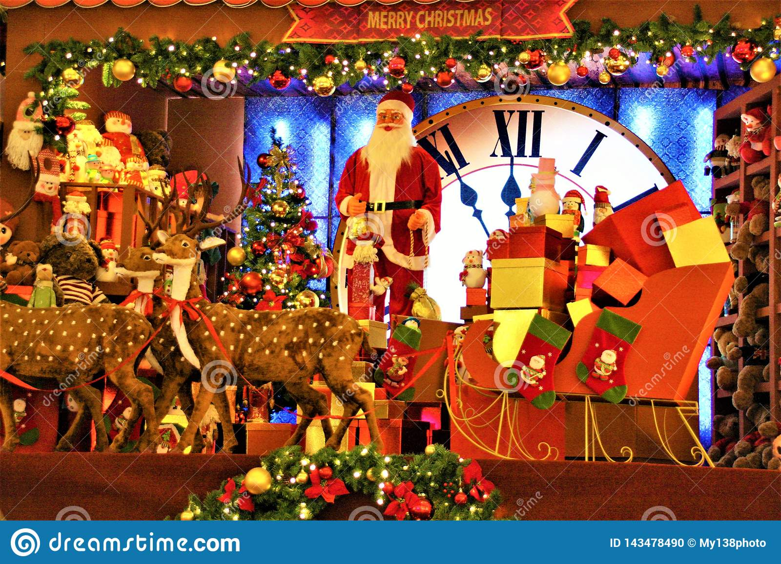 Christmas Decoration In Shopping Mall Santa Claus And