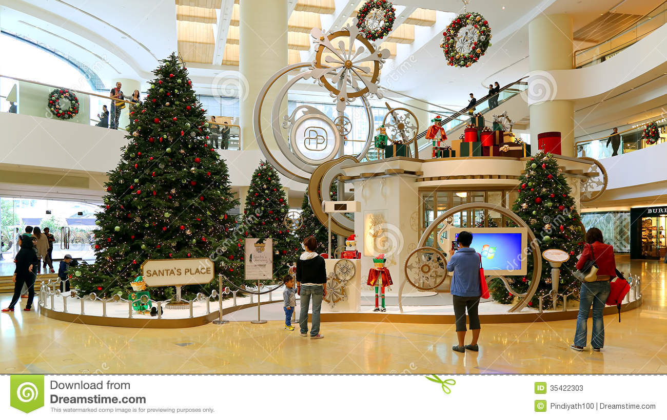 Christmas decoration in shopping mall editorial stock for Xmas decoration stores