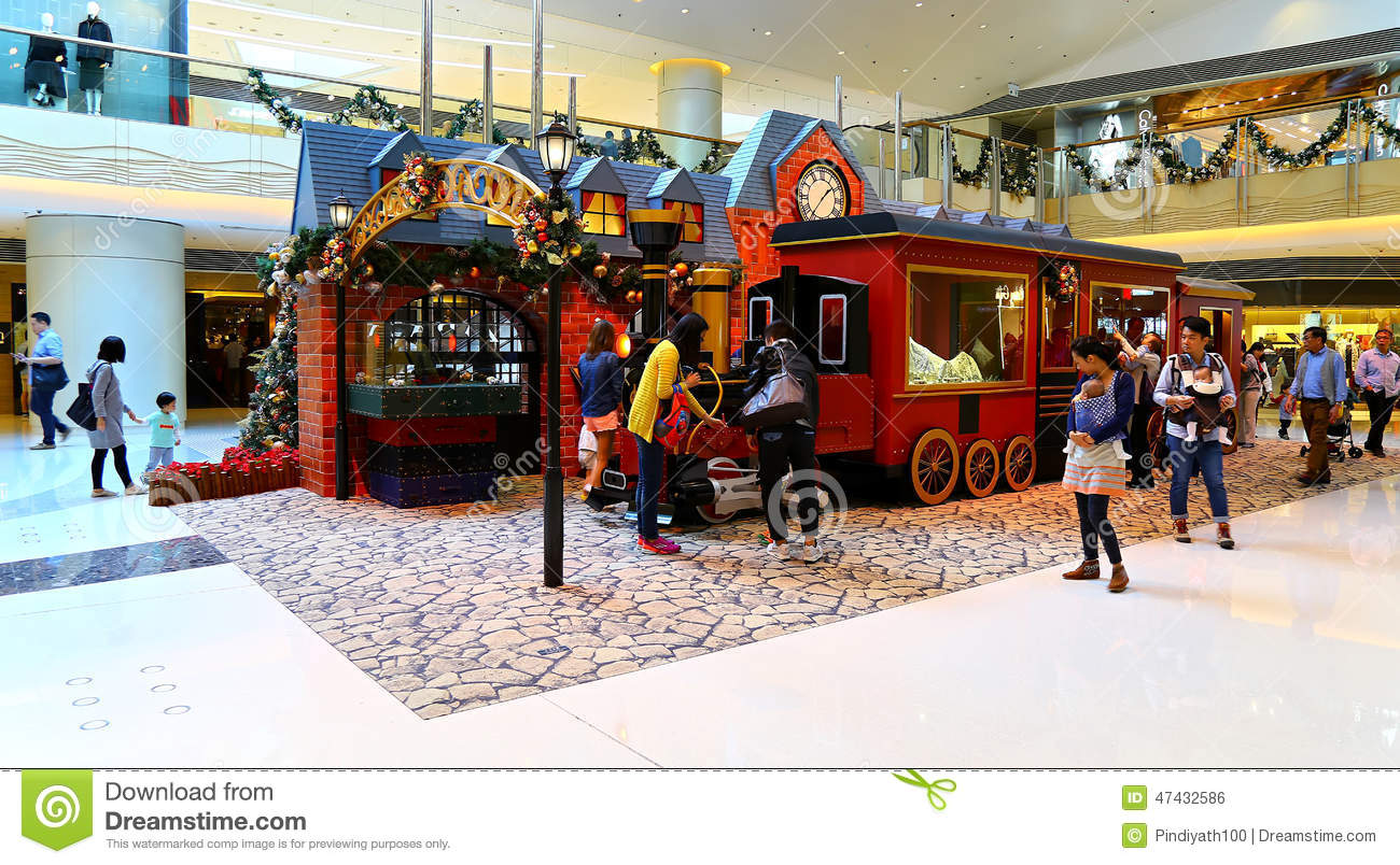 christmas decoration at shopping mall - Christmas Train Decoration