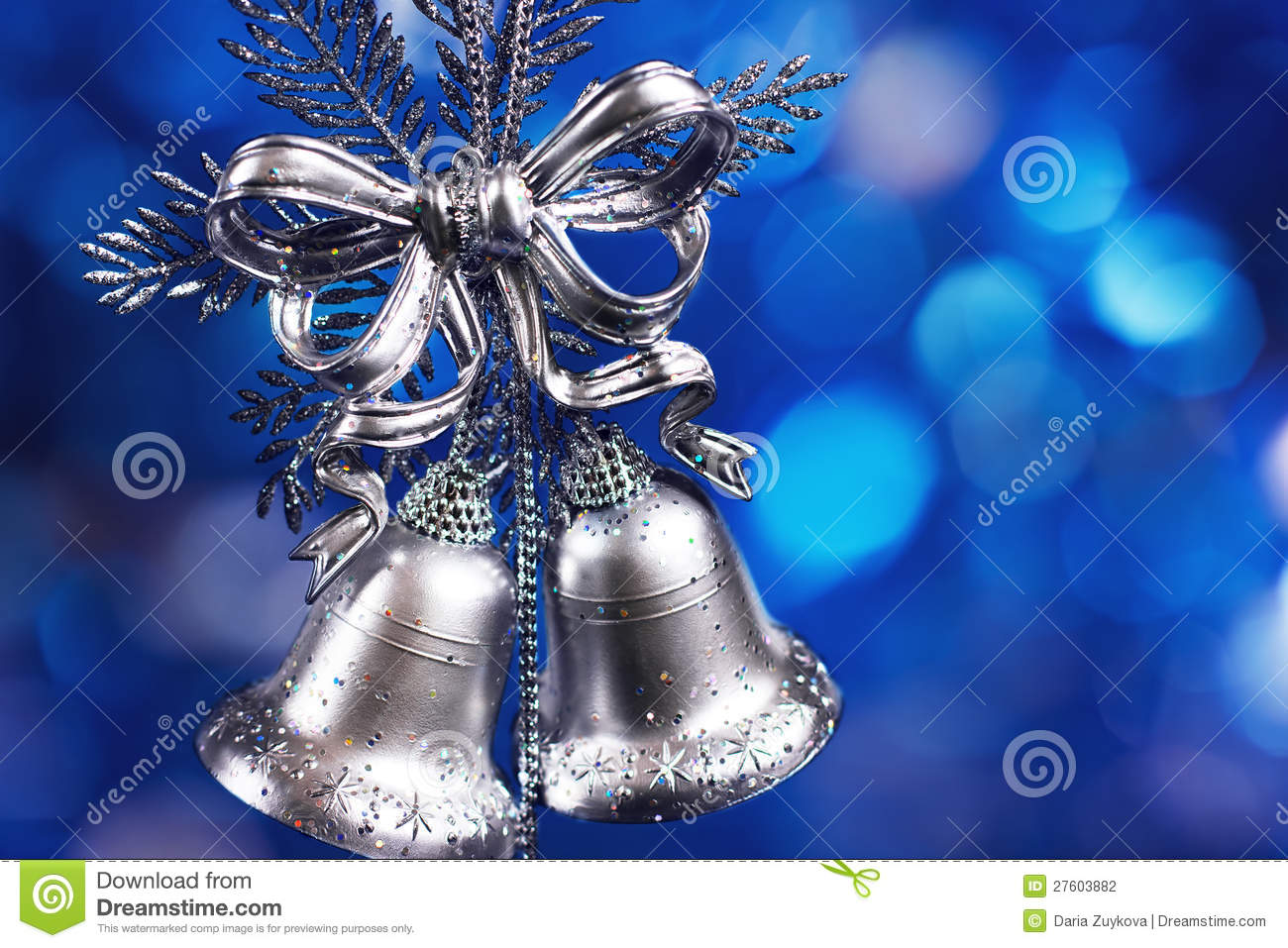 Christmas decoration with silver bells stock photo image