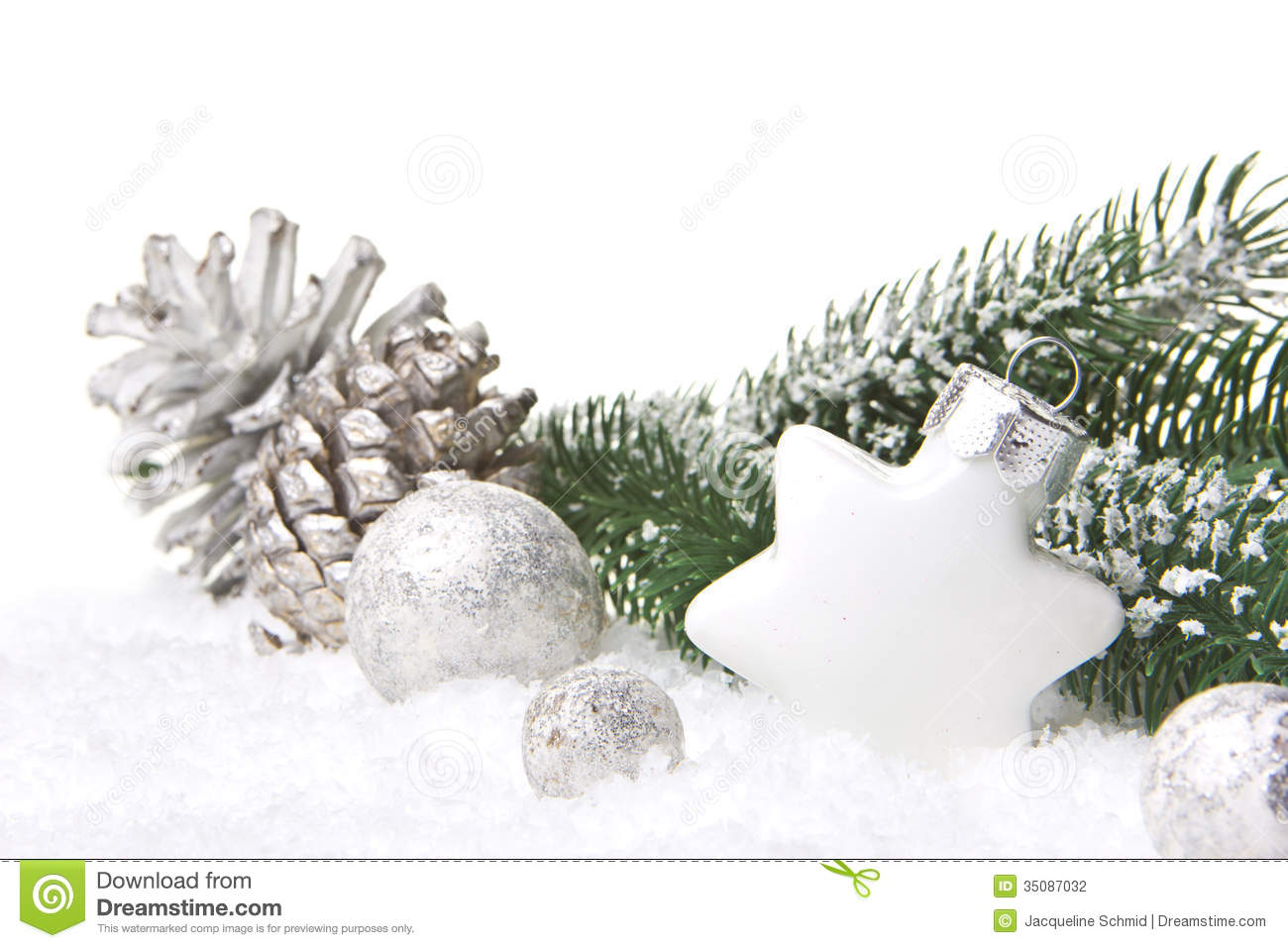 Christmas Decoration Silver And White Stock Photography - Image ...