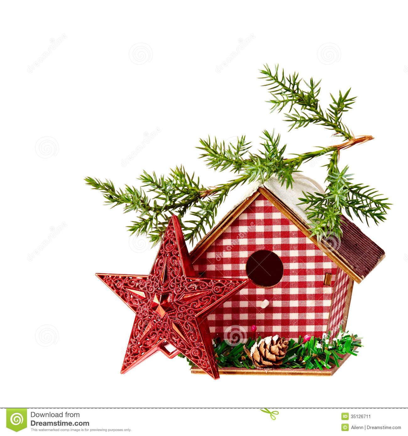 Christmas Decoration Star Birdhouse A Branch Of Spruce