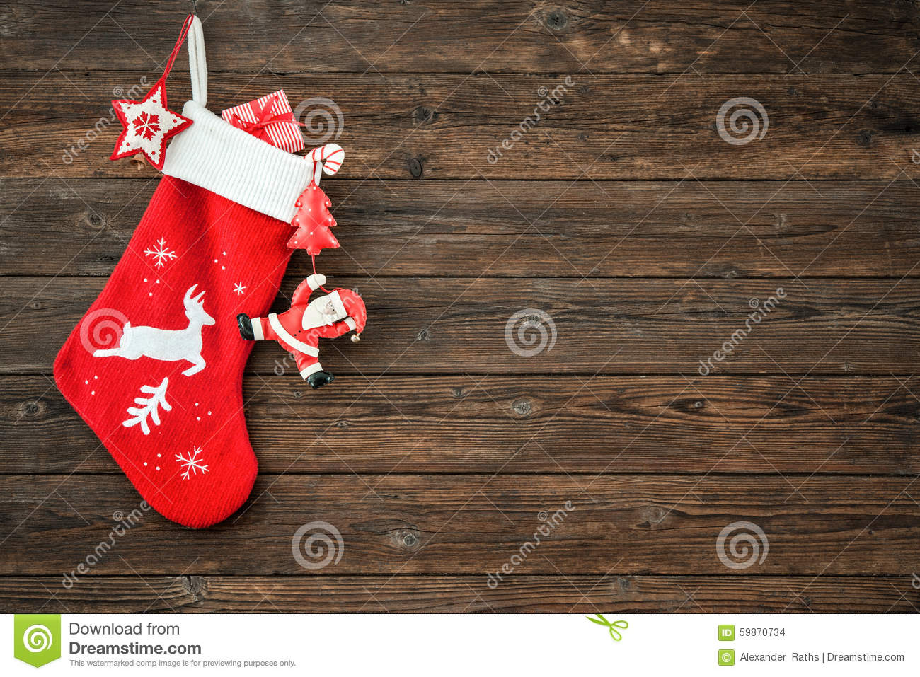 Christmas Decoration Stocking Stock Photo Image 59870734