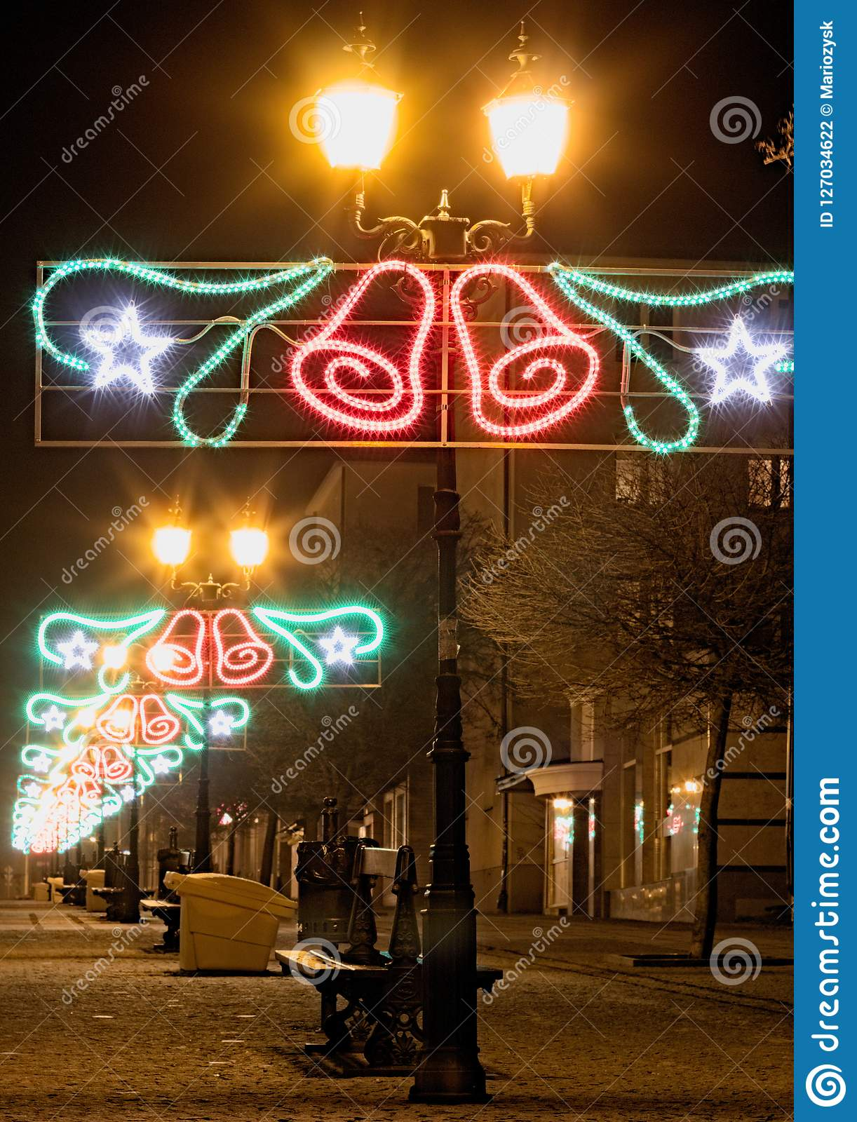Christmas Decoration In A Street In A Small Town Stock Photo Image