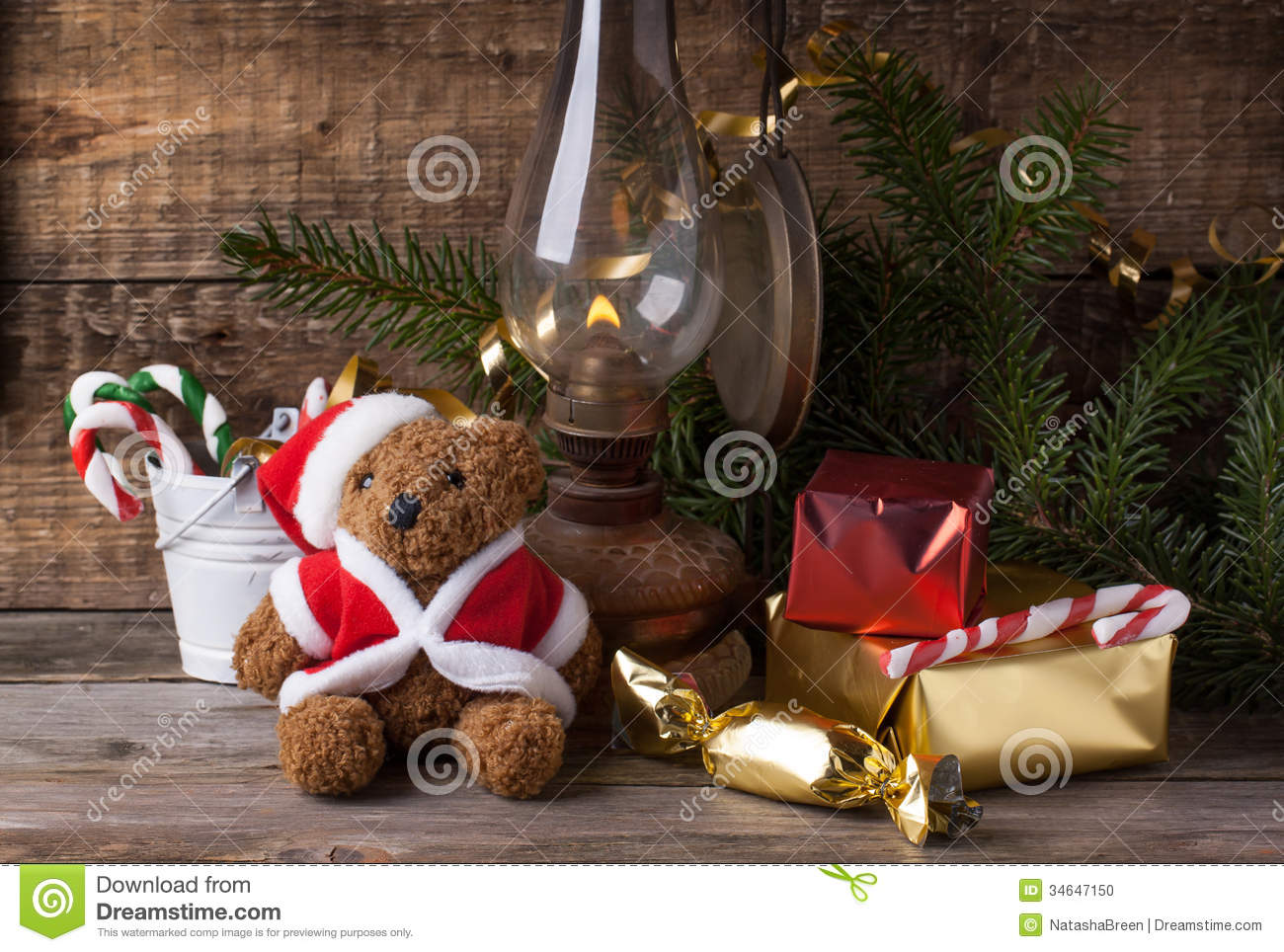 download christmas decoration with teddy bear stock photo image of claus green 34647150