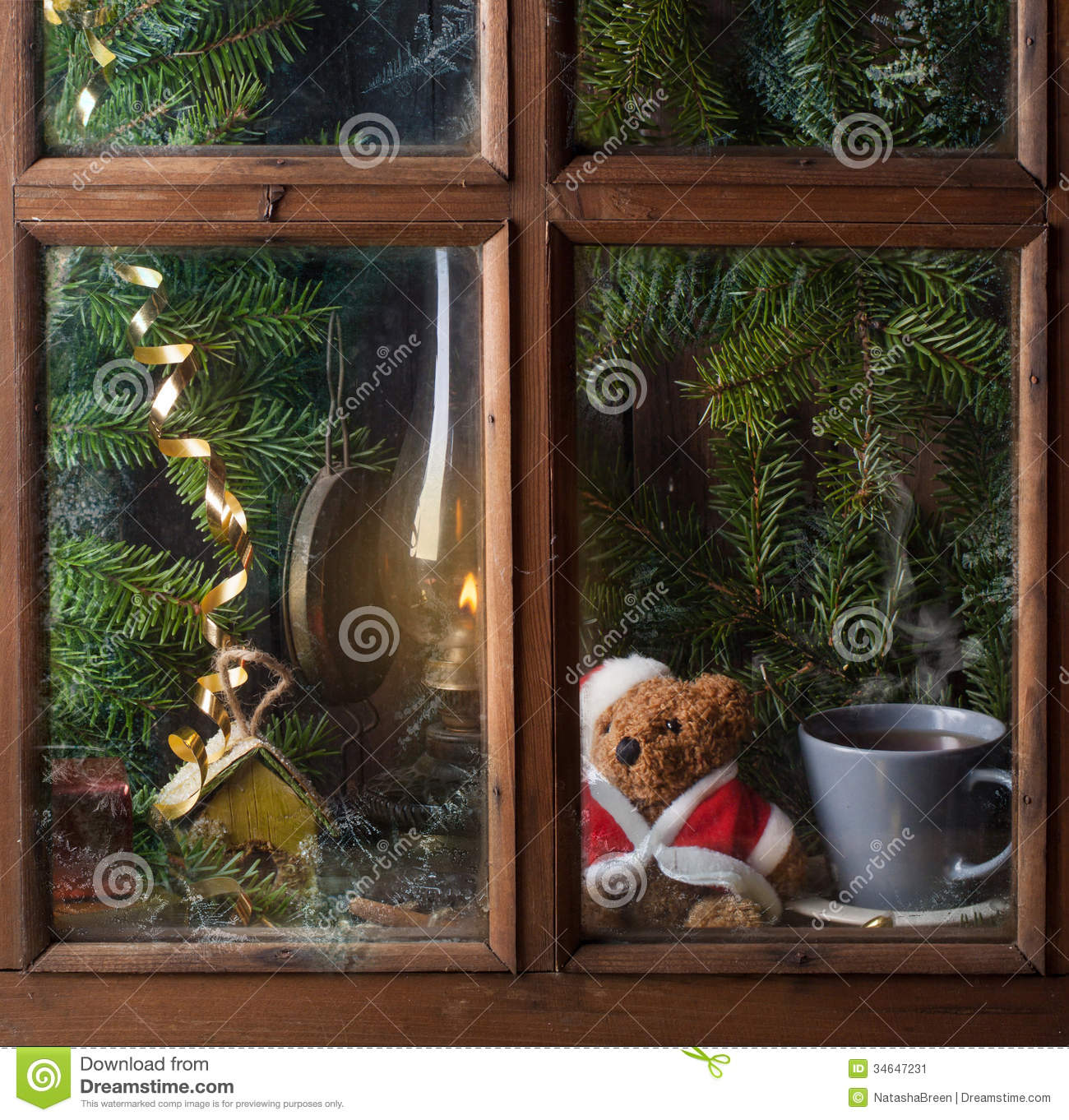 Christmas decoration with teddy bear in window stock image for Decoration de fenetre pour noel