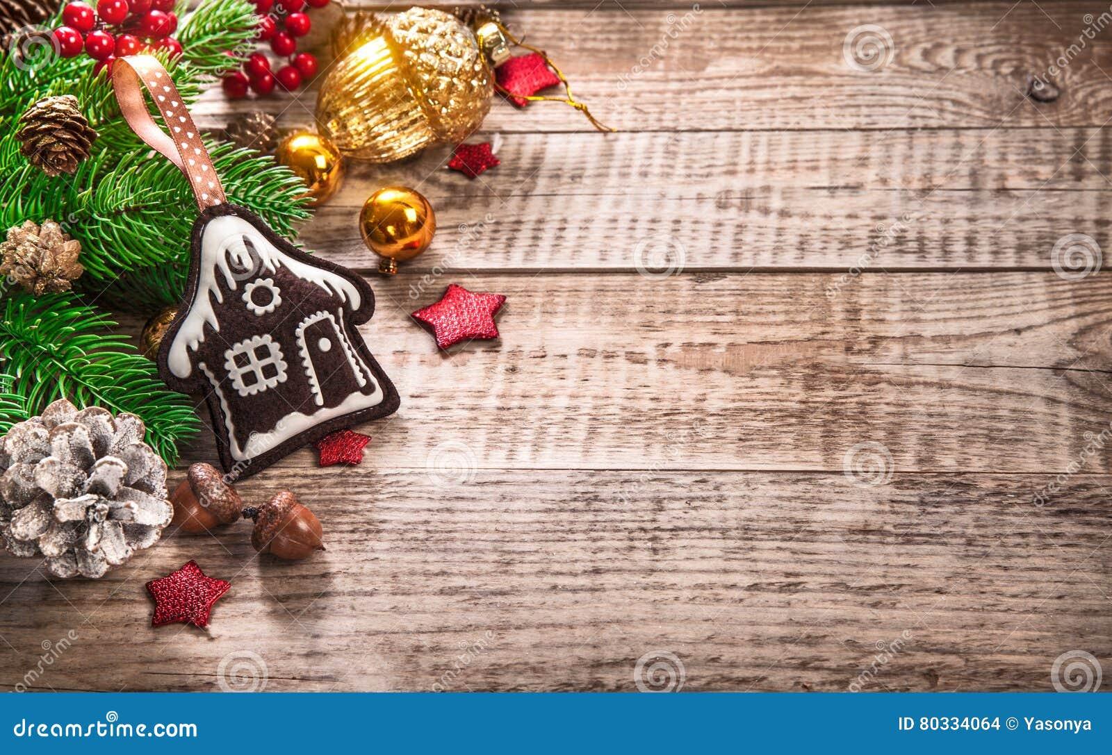 Christmas Decoration Top View Fir Pinecone Acorn Stock Photo Image