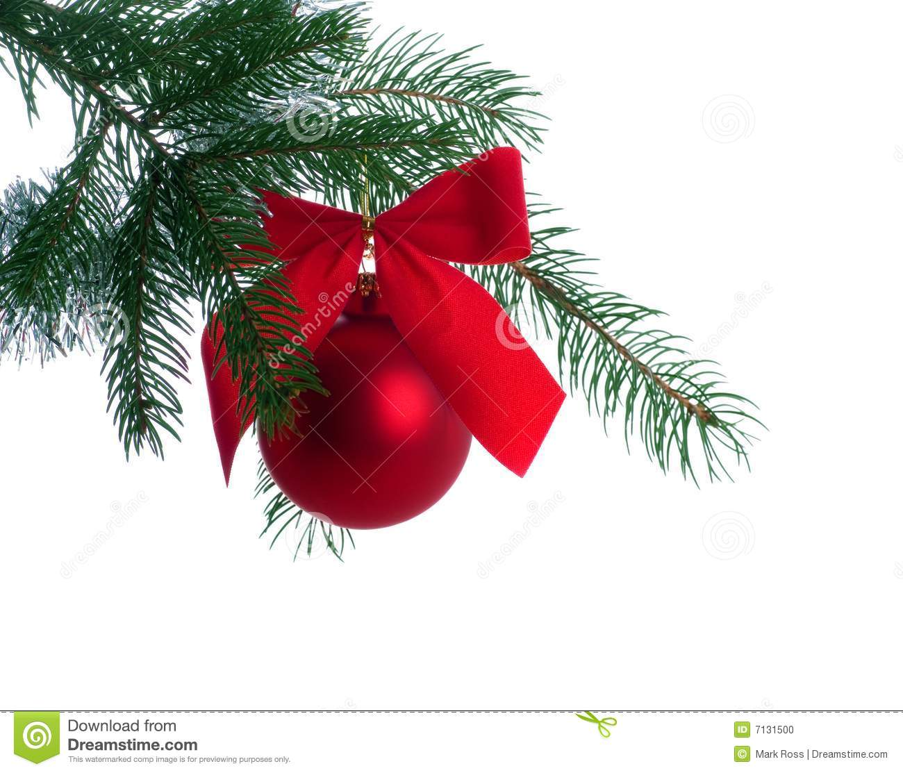 Christmas Decorations With Tree Branches: Christmas Decoration On Tree Branch Stock Photo
