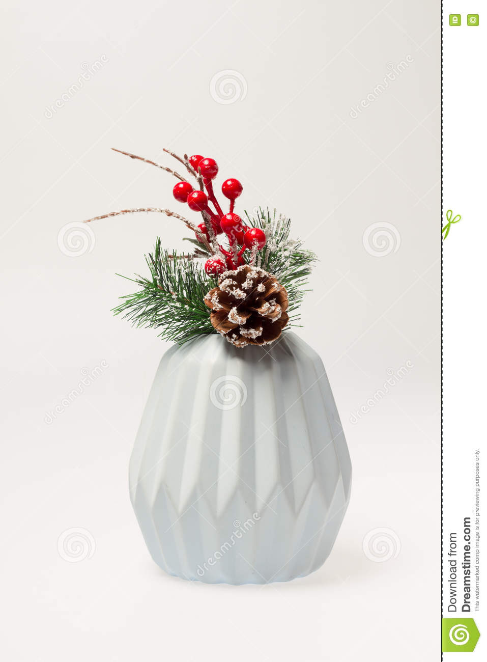 Christmas Decoration Tree Branch In A Vase Stock Photo Image Of