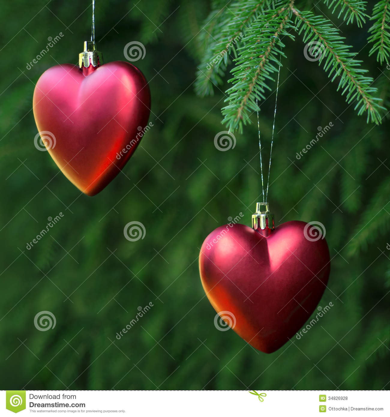 Christmas decoration two hearts royalty free stock photos