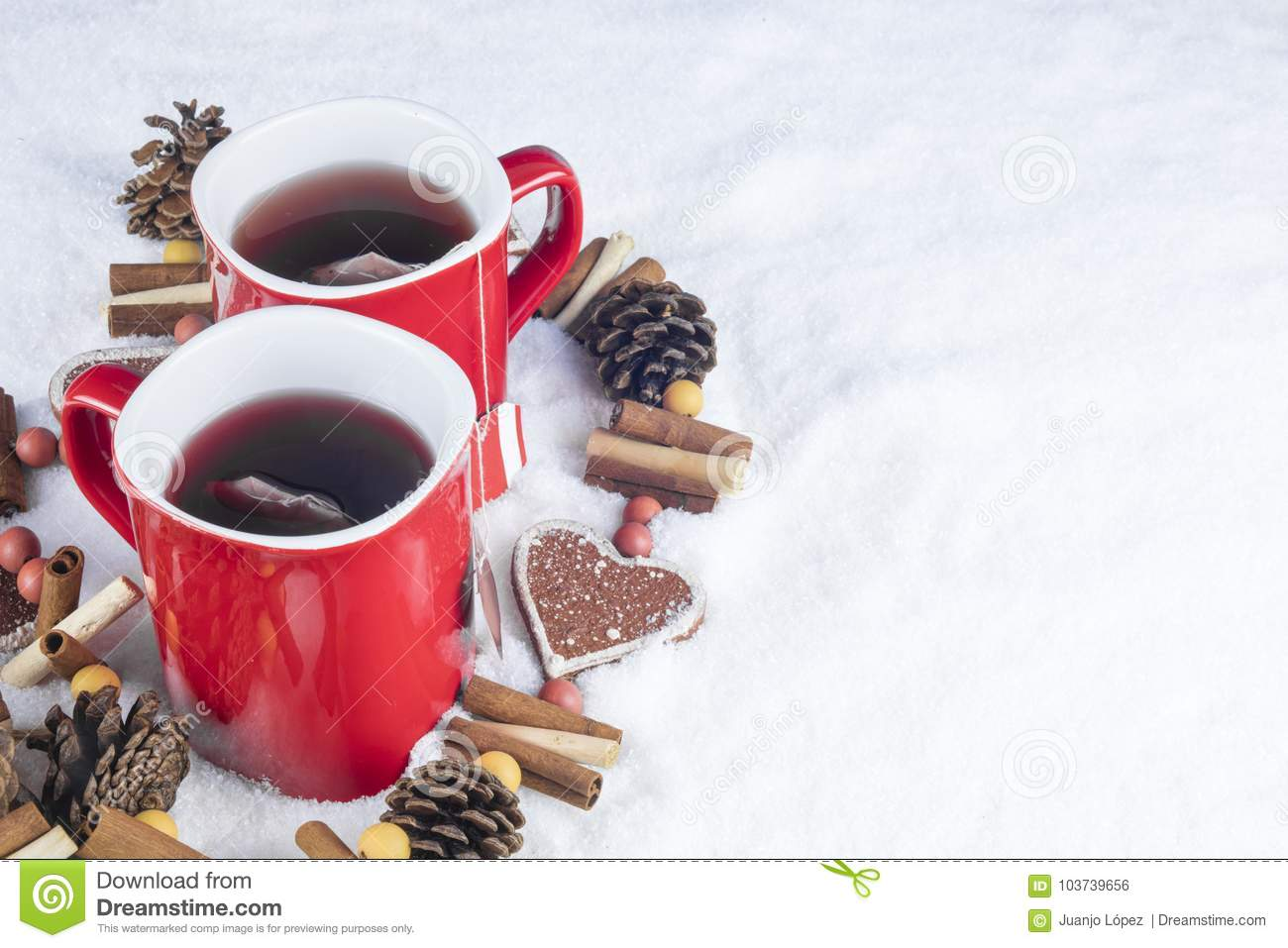 Download Christmas Decoration With Two Red Cups Of Hot Tea On A Backgroun Stock Photo - Image of copyspace, bless: 103739656