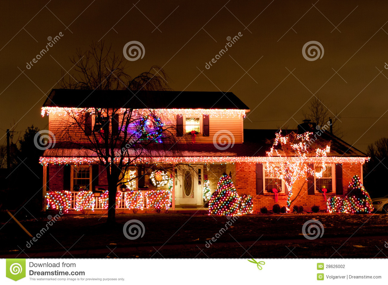 Christmas decoration of a typical american home stock for Decor de noel exterieur