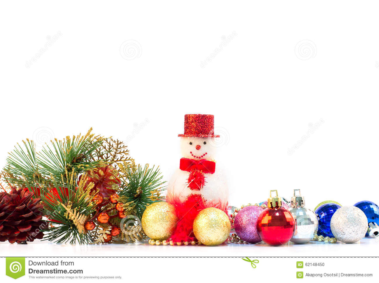 download christmas decoration on white background as bottom frame border stock photo image of metal