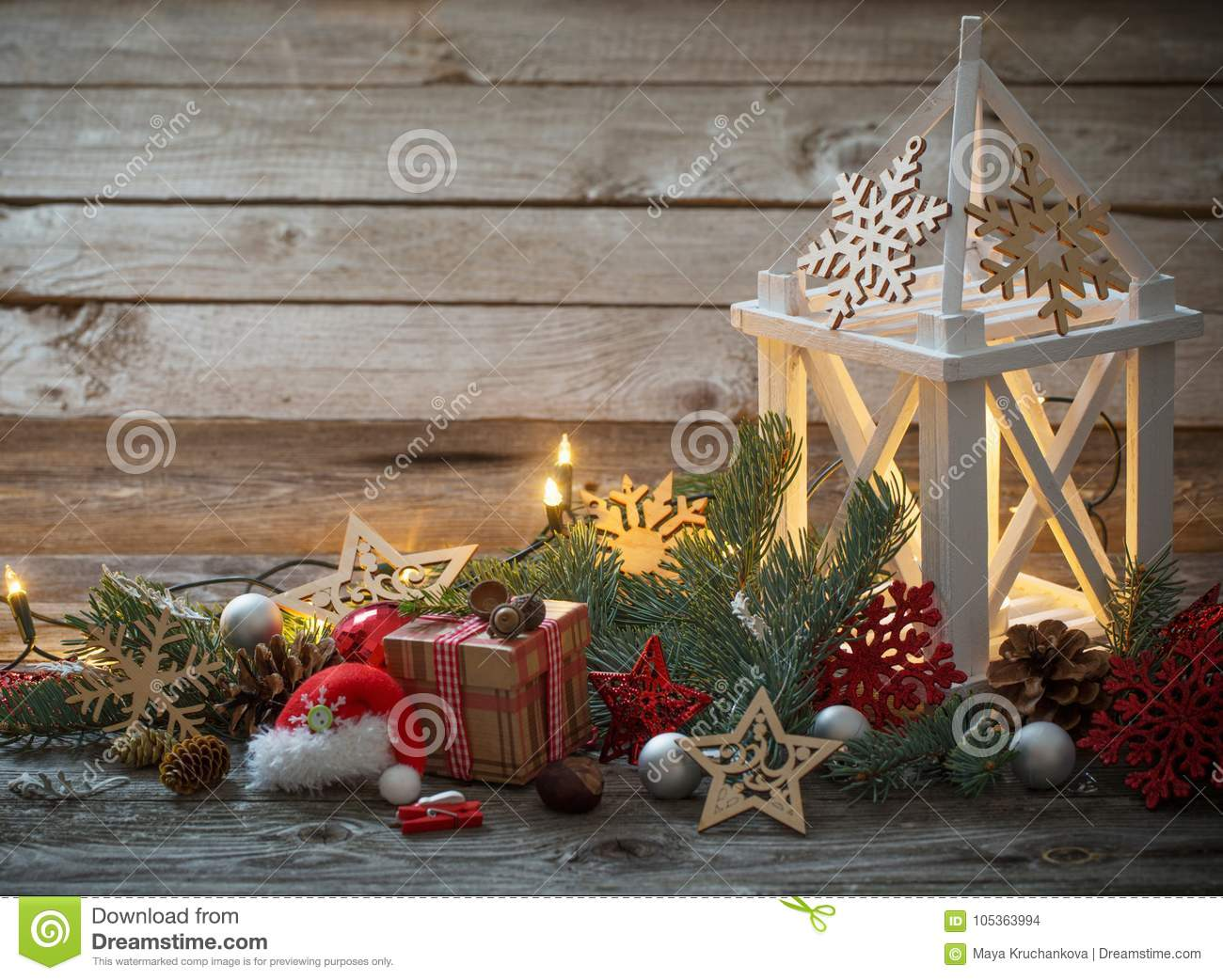 download christmas decoration with white lantern stock photo image of light greeting 105363994 - How To Decorate A Lantern For Christmas