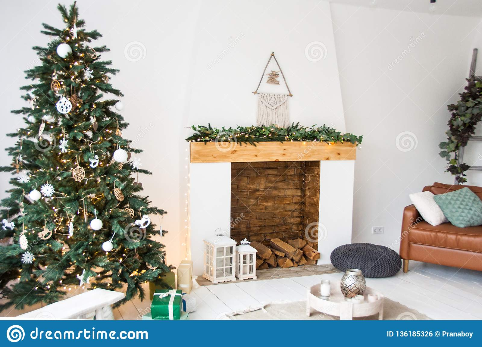 Christmas Decoration For White Living Room With Fireplace And Christmas Tree Interior Design Stock Photo Image Of Indoors 2020 136185326
