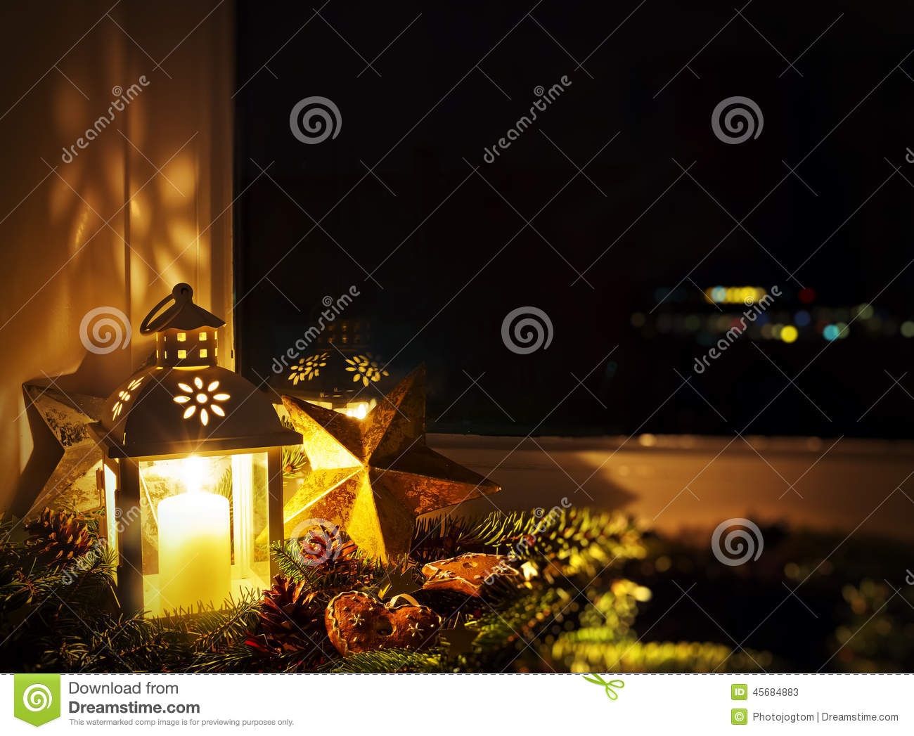 christmas decoration on a window sill stock photo image. Black Bedroom Furniture Sets. Home Design Ideas