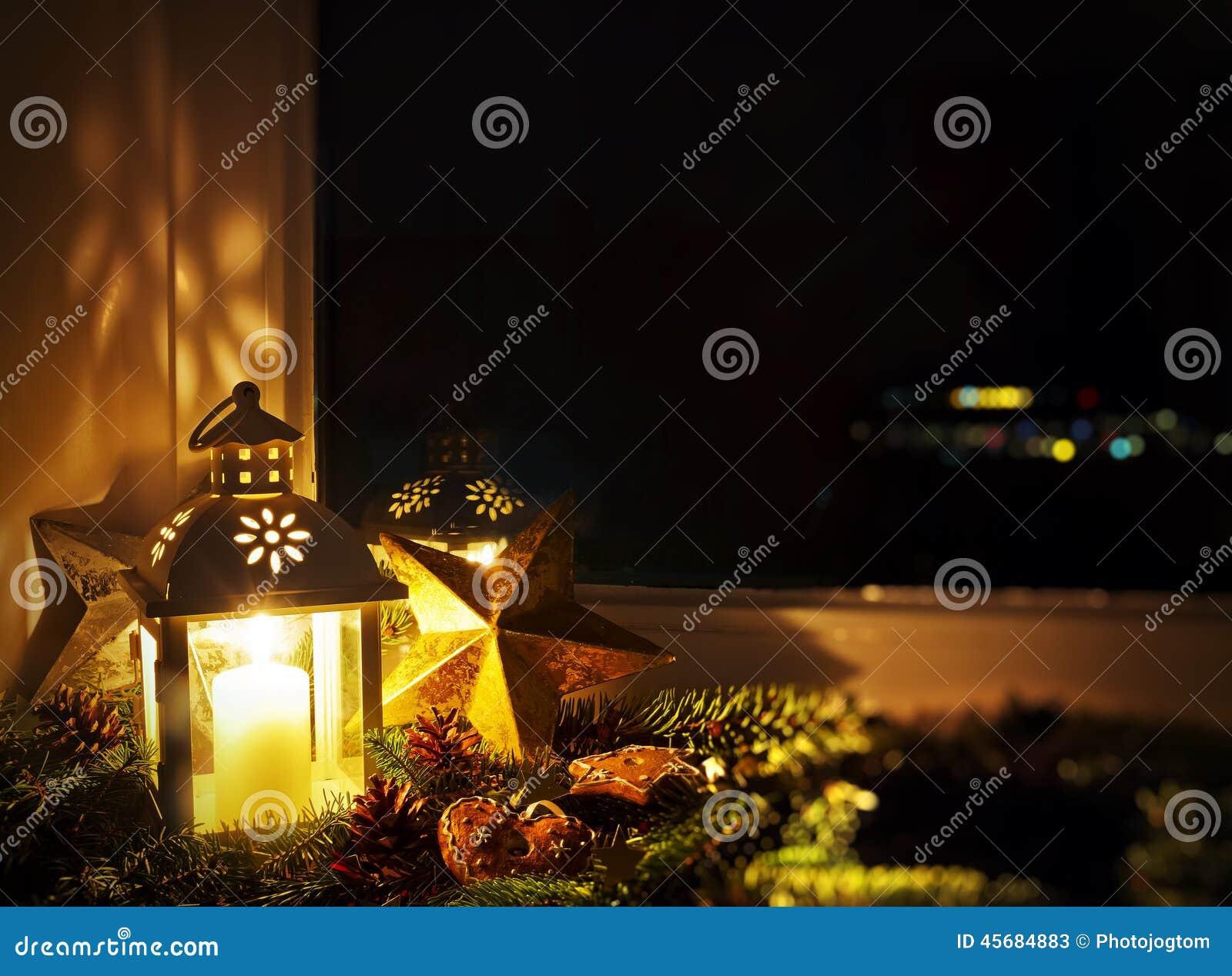Christmas decoration on a window sill stock photo image - Christmas window sill lights ...