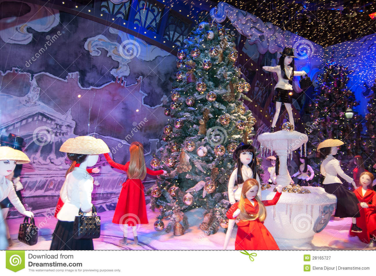 Christmas Decoration In The Windows Of Printemps