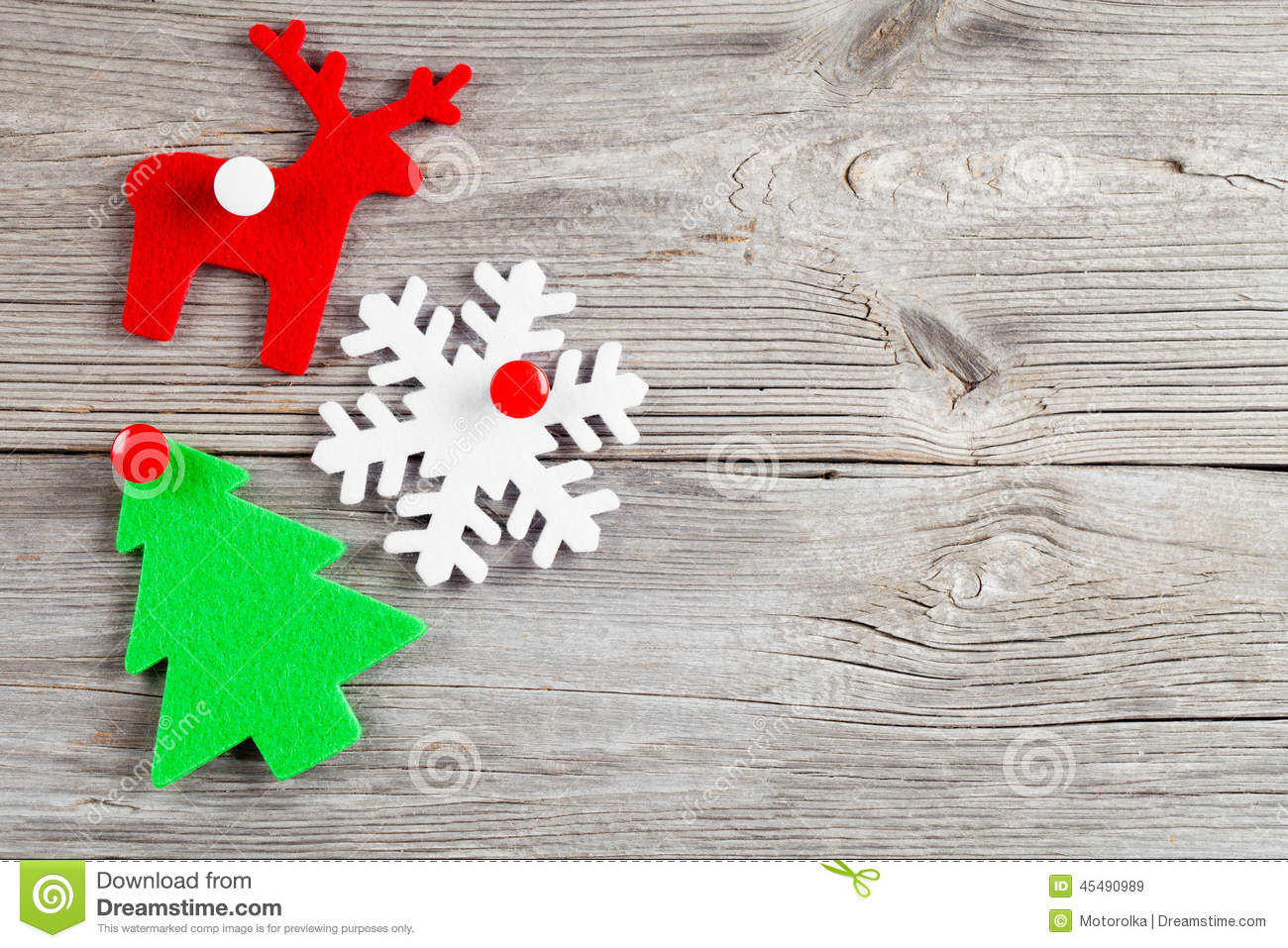 Christmas decoration on wood background stock photo for A text decoration