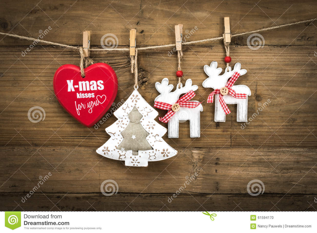 Christmas decoration on board : Christmas decoration on wooden background board stock