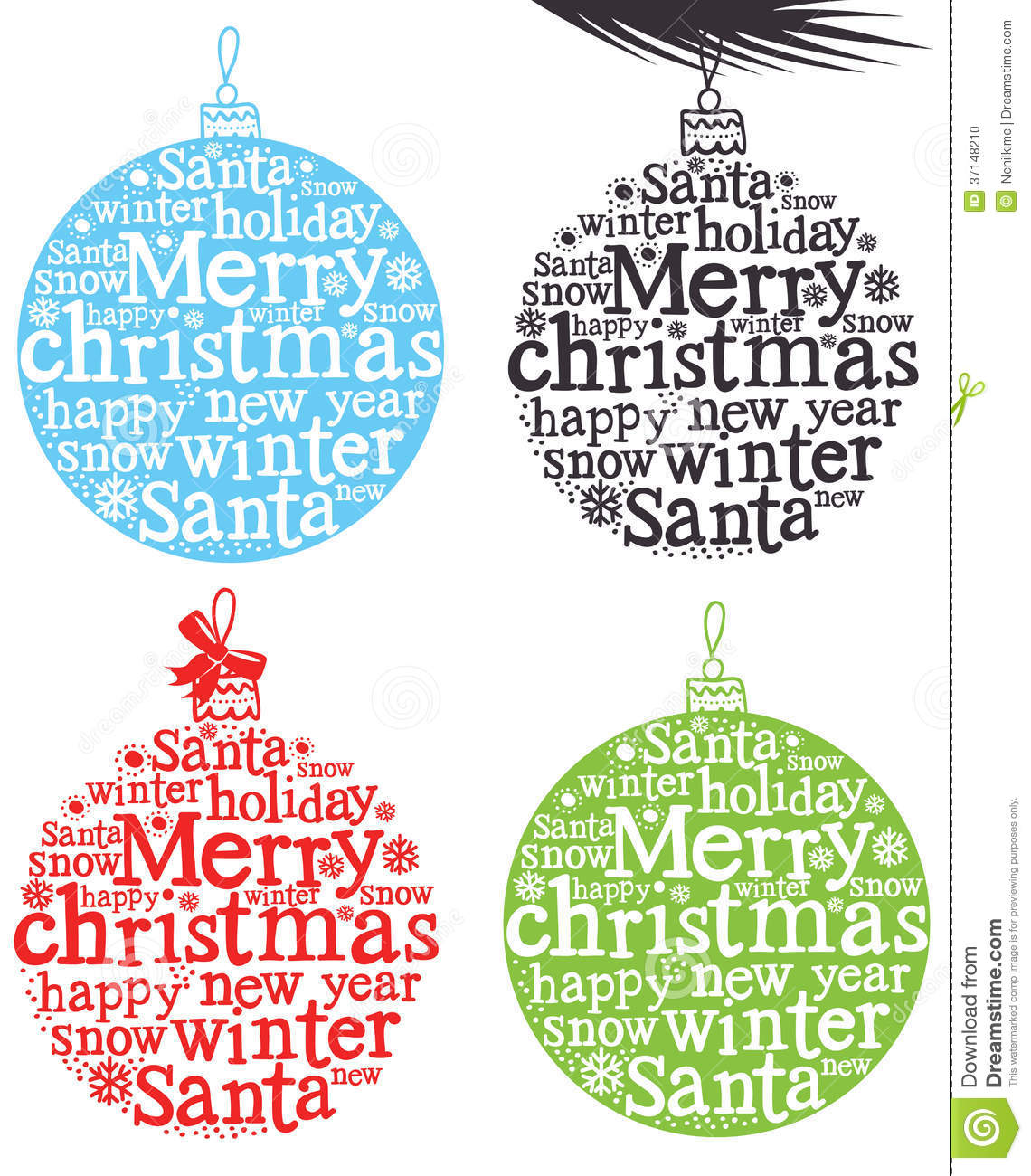 Christmas decoration with words stock vector image 37148210 for Another word for christmas decoration