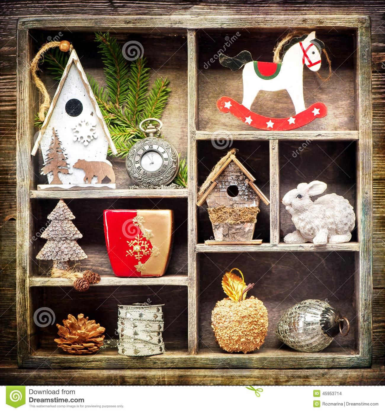 download christmas decorations antique clocks rocking horse and christmas toys stock photo
