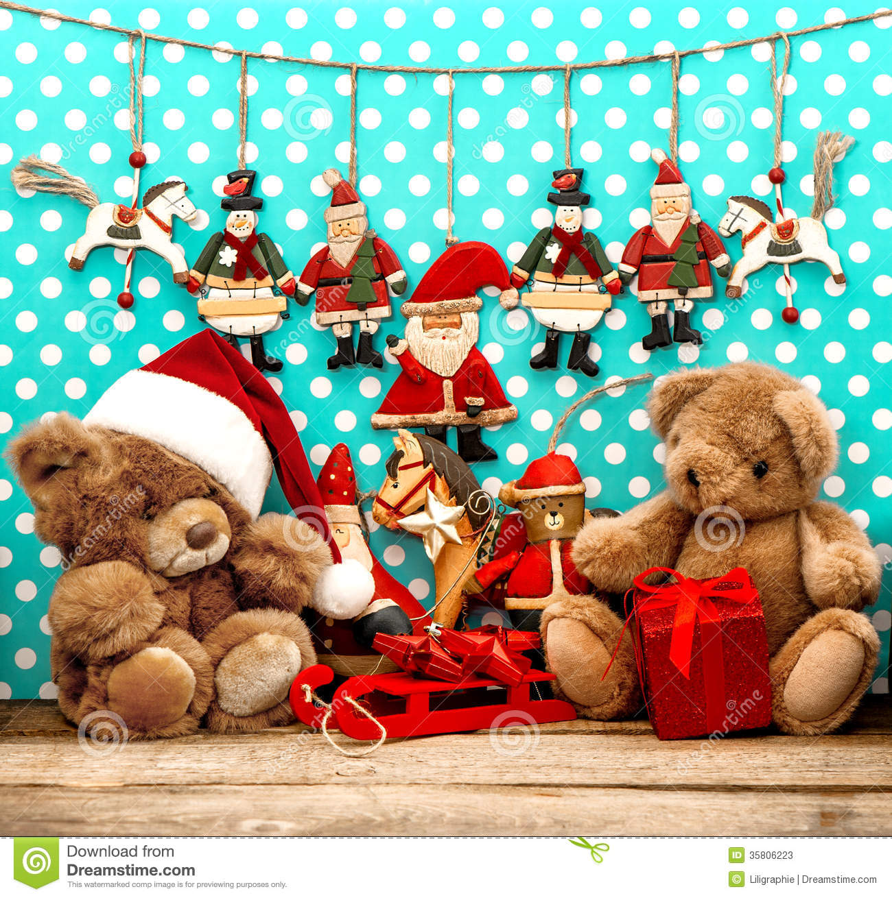 christmas decorations with antique toys and teddy bear - Bear Christmas Decorations