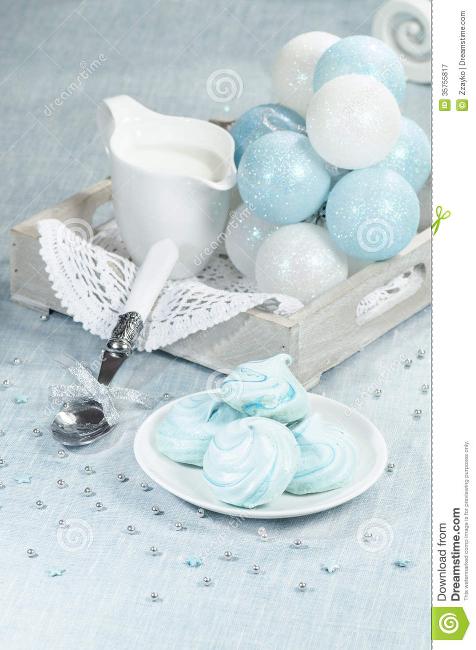 Christmas Decorations Azure Homemade Meringue Cookies And Cup Of Milk Royalty Free Stock