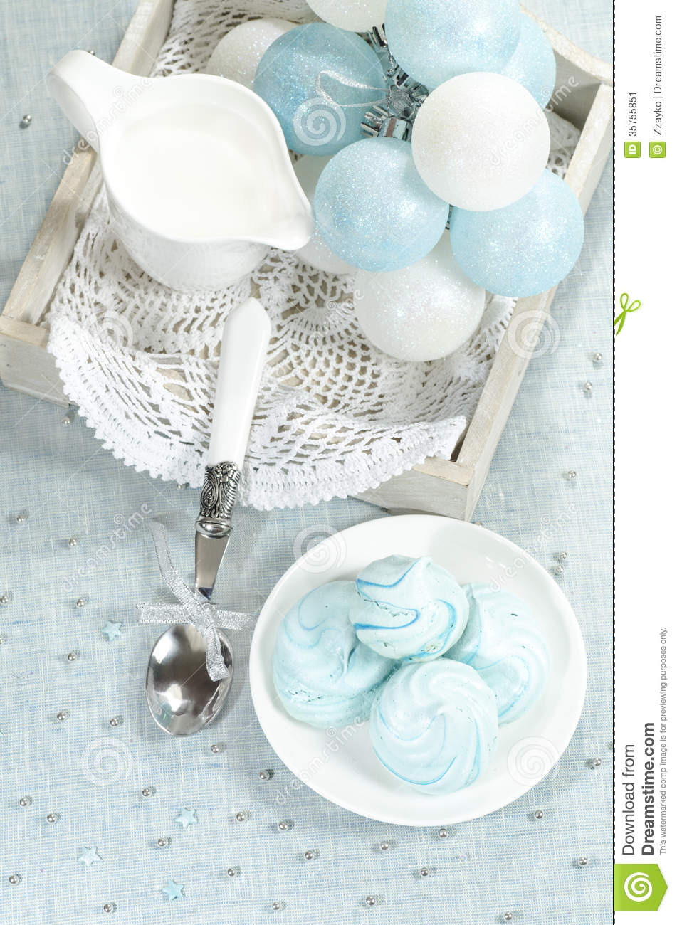 Christmas Decorations Azure Homemade Meringue Cookies And Cup Of Milk Stock Image Image 35755851