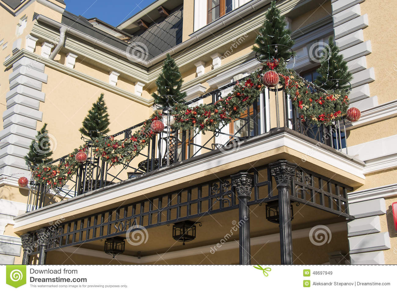 Christmas Decorations On The Balcony (Kislovodsk, Russia ...