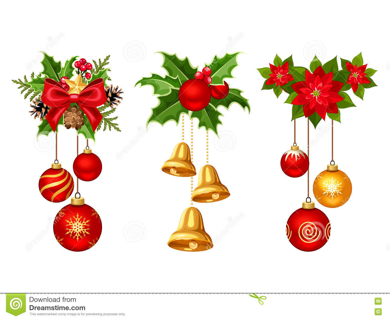 Christmas Decorations With Balls And Bells Vector Illustration